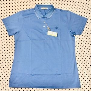 4/$30 Peter Millar solid blue lisle tipping polo